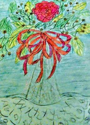 Still Life Drawings - Red Ribbon and Flower on Blue by Christy Saunders Church