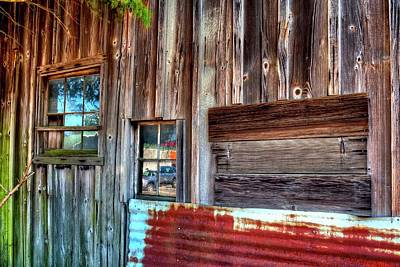 Jerry Sodorff Royalty-Free and Rights-Managed Images - Red Rusty Metal Two Windows Three Boards by Jerry Sodorff