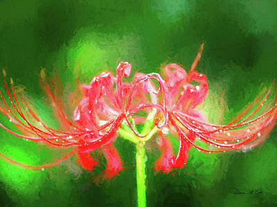 Angels And Cherubs - Red Spider Lily in Rain by Bellesouth Studio