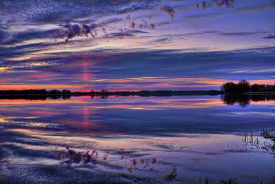 Owls - Red Sun Pillar Over South Rice Lake by Dale Kauzlaric