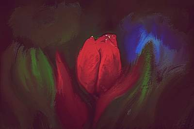 Mixed Media Royalty Free Images - Red Tulip #k9 Royalty-Free Image by Leif Sohlman