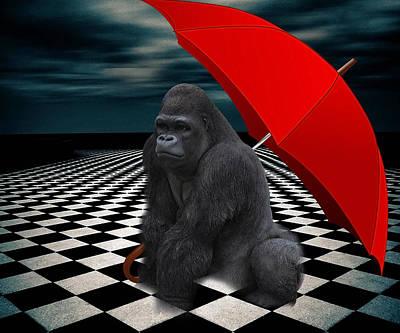 Mixed Media - Red Umbrella Gorilla by Marvin Blaine