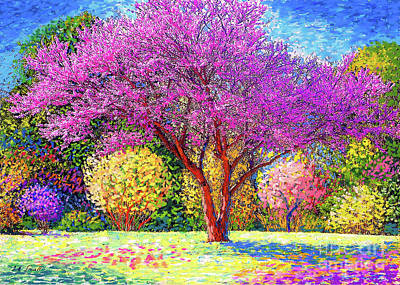Landscapes Royalty-Free and Rights-Managed Images - Redbud Radiance by Jane Small
