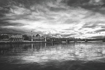 Scifi Portrait Collection - Reflections of the Rhone River Lyon France Black and White  by Carol Japp
