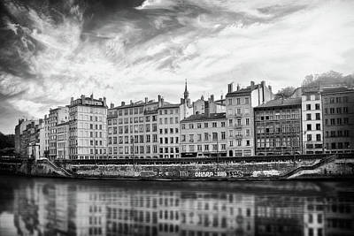 Priska Wettstein Land Shapes Series - Reflections of The Saone River Lyon France Black and White  by Carol Japp