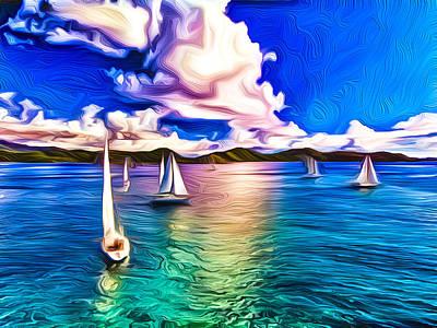 Mixed Media Royalty Free Images - Regatta at Coral Bay Royalty-Free Image by Nicholas Heinemann