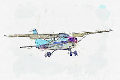 Vintage Movie Stars - Reims Cessna FM Skyhawk G-BBOA war planes in watercolor ca by Ahmet Asar  by Celestial Images