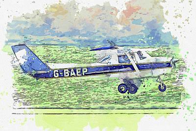 Vintage Movie Stars - Reims Cessna FRA L Aerobat G-BAEP war planes in watercolor ca  by Ahmet Asar  by Celestial Images