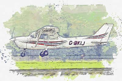 Vintage Movie Stars - Reims FM Skyhawk G-BKIJ war planes in watercolor ca by Ahmet Asar  by Celestial Images