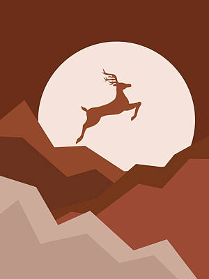 Royalty-Free and Rights-Managed Images - Reindeer Jumping over the hills - Christmas Reindeer and Moon - Terracotta Art - Nature Abstract by Studio Grafiikka