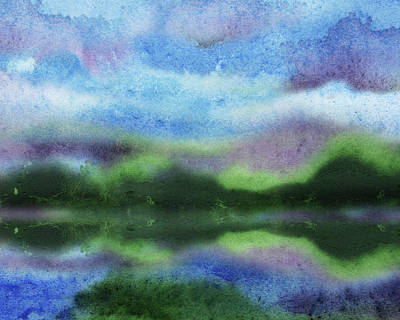 Landscapes Royalty-Free and Rights-Managed Images - Relaxing Meditative Lake Reflections Abstract Watercolor Landscape  by Irina Sztukowski