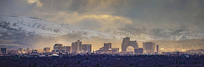 Fantasy Royalty-Free and Rights-Managed Images - Reno Skyline Pano 9414 by Janis Knight