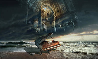 Recently Sold - Surrealism Digital Art Rights Managed Images - Requiem or Music set you free Royalty-Free Image by George Grie