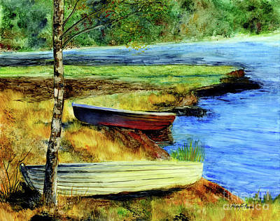 Wild Horse Paintings - Resting Boats by Hailey E Herrera