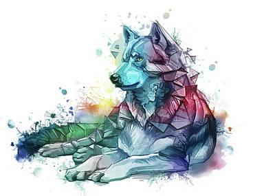 Animals Digital Art - Resting Wolf Colorful by Bekim M