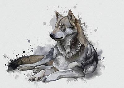 Animals Digital Art - Resting Wolf Vintage by Bekim M