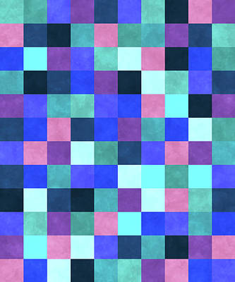 Royalty-Free and Rights-Managed Images - Retro Geometric Mosaic Pattern - Blue, Violet, Indigo, Pink by Studio Grafiikka