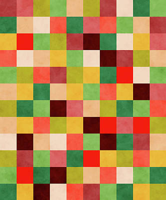 Royalty-Free and Rights-Managed Images - Retro Geometric Mosaic Pattern - Red, Yellow, Green by Studio Grafiikka