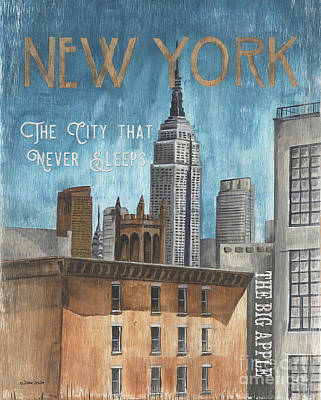 Royalty-Free and Rights-Managed Images - Retro Travel Poster New York by Debbie DeWitt