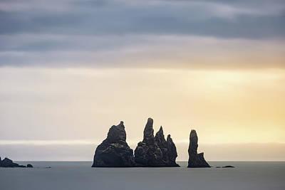 Target Threshold Nature - Reynisdrangar basalt sea stacks sunset in Iceland by Alexios Ntounas