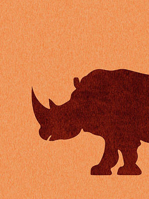 Royalty-Free and Rights-Managed Images - Rhinoceros Silhouette - Scandinavian Nursery Decor - Animal Friends - For Kids Room - Minimal by Studio Grafiikka