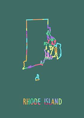Royalty-Free and Rights-Managed Images - Rhode Island Pop Art Map Green BG by Ahmad Nusyirwan