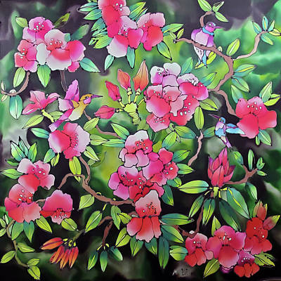 Design Turnpike Books Royalty Free Images - Rhododendron with hummingbirds Royalty-Free Image by Karla Kay Benjamin