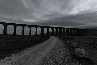 David Bowie - Ribblehead Viaduct and path - black and white by Paul Madden