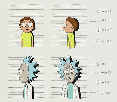Royalty-Free and Rights-Managed Images - Rick and Morty Mugshots by Samuel Whitton