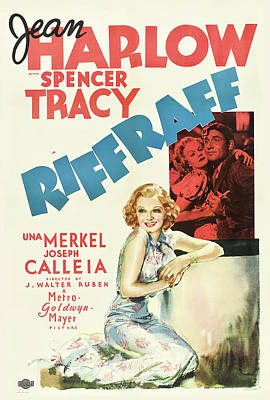 Mixed Media Royalty Free Images - Riffraff, with Jean Harlow and Spencer Tracy, 1936 Royalty-Free Image by Stars on Art