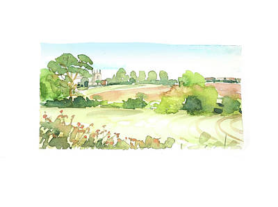Target Threshold Watercolor - Riseley Church by Luisa Millicent