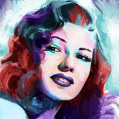 Monets Water Lilies Rights Managed Images - Rita Hayworth portrait Royalty-Free Image by Stars on Art