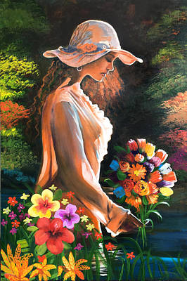 Painting - River Girl with Flowers by Robert Korhonen