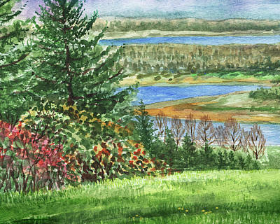 Royalty-Free and Rights-Managed Images - Riverbank Watercolor Landscape  by Irina Sztukowski