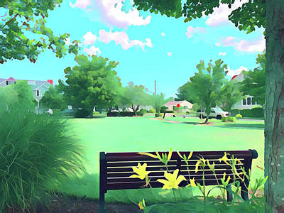 Surrealism Royalty-Free and Rights-Managed Images - Riviera Park Bench by Surreal Jersey Shore
