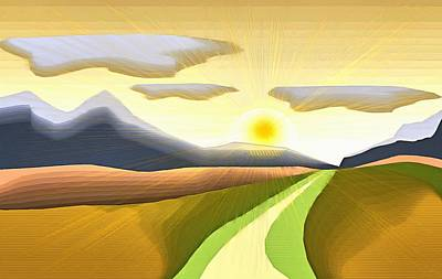 Surrealism Royalty-Free and Rights-Managed Images - Road to Sunrise by Mario Carini