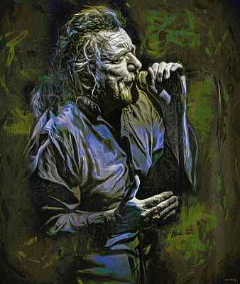 Mixed Media Royalty Free Images - Robert Plant Live Royalty-Free Image by Mal Bray