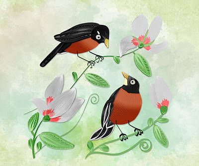 Rose - Robin and Magnolia Blossoms - Recreation by Carlos Vieira