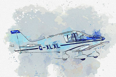 Vintage Movie Stars - Robin DR Chevalier G-XLXL war planes in watercolor ca by Ahmet Asar  by Celestial Images