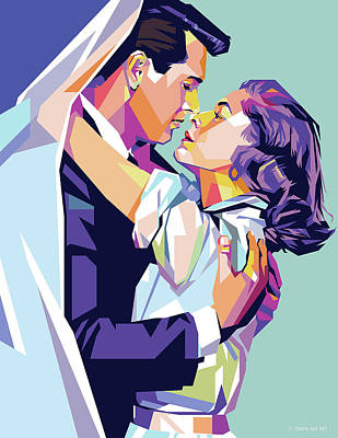 Classic Baseball Players - Rock Hudson and Lauren Bacall by Stars on Art