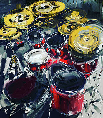 Music Mixed Media - Rockin Red Drums by Russell Pierce
