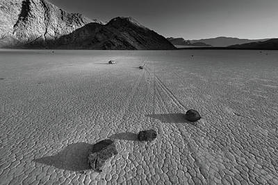 Science Tees Rights Managed Images - Rocks on the Racetrack Death Valley BW Royalty-Free Image by Steve Gadomski
