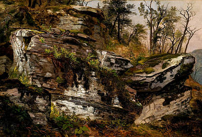Thomas Kinkade Royalty Free Images - Rocky Cliff by Asher B Durand 1796 1886 Royalty-Free Image by Artistic Rifki