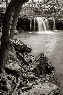 Royalty-Free and Rights-Managed Images - Rocky Shores At Falling Water Falls - Sepia Edition by Gregory Ballos