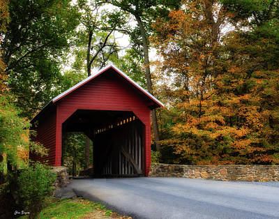 Bringing The Outdoors In - Roddy Road Covered Bridge Fall 2 by Glenn Thompson