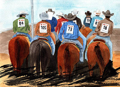Sports Paintings - Rodeo Cowboys by Margaret Bucklew