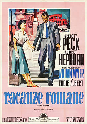 Royalty-Free and Rights-Managed Images - Roman Holiday, with Gregory Peck and Audrey Hepburn, 1953 by Stars on Art