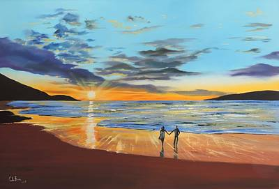 Painting - Romantic Beach Sunset by Gordon Bruce