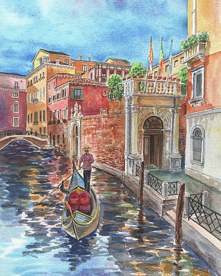 Royalty-Free and Rights-Managed Images - Romantic Ride Is Ready Venice Gondolier Italian Channel Watercolor   by Irina Sztukowski