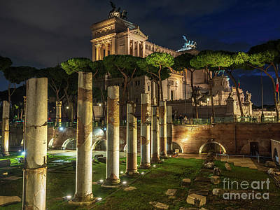 City Scenes - Rome at Night Altar of the Fatherland by Mike Reid